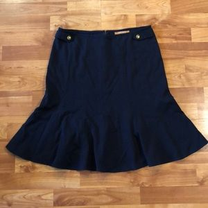 Ellen Tracy navy blue skirt w/ gold button accents